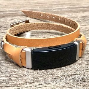 Genuine Tan Leather Bracelet for Fitbit Inspire HR